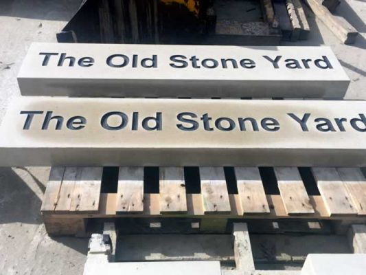 Stone House Name Sign - The Old Stone Yard