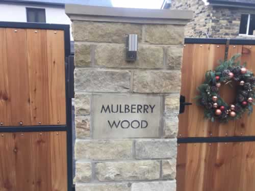 Mullbery Wood Inset Stone House Name Sign